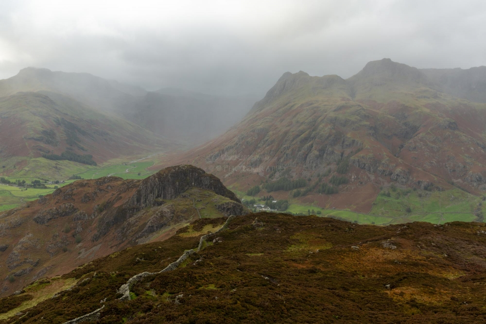 The Langdale Pikes In The Clouds From Lingmoor Fell, The Lake District