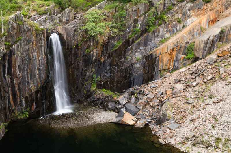 Waterfalls In Banishead Quarry. The Lake District