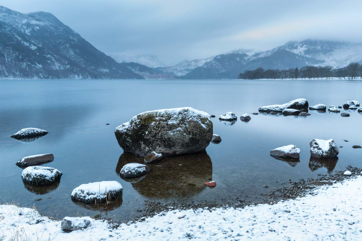 Fresh Snow On The Edge Of Ullswater. The Lake District